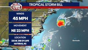 Tropical Storm Bill forms off coast of North Carolina