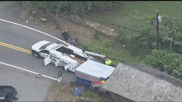 Red Bull truck stuck inside one-lane historic bridge in Cobb County