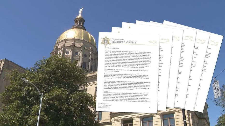 Alan Parker, legal advisor for the Clayton County Sheriff's Office, sent a letter to Georgia Gov. Brian Kemp urging him to reconsider Sheriff Victor Hill's suspension.