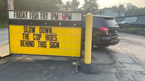 Pennsylvania deli uses sign to warn drivers of police hiding behind it