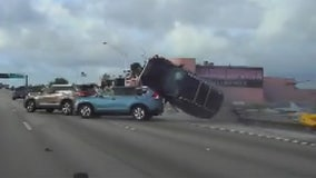 Dashcam video shows wild chase ending with SUV flipping over on Florida highway