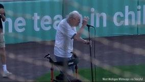 96-year-old WWII veteran sings national anthem before baseball game