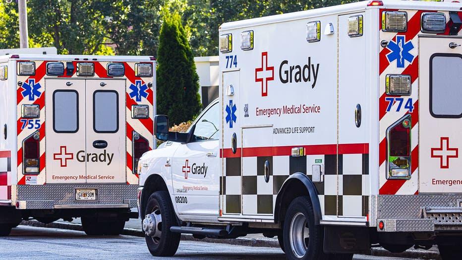 Ambulances line up outside Grady Hospital in Atlanta.