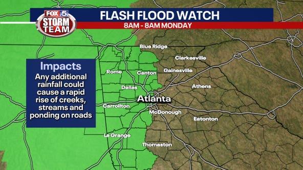 Western parts of Georgia under Flash Flood Watch