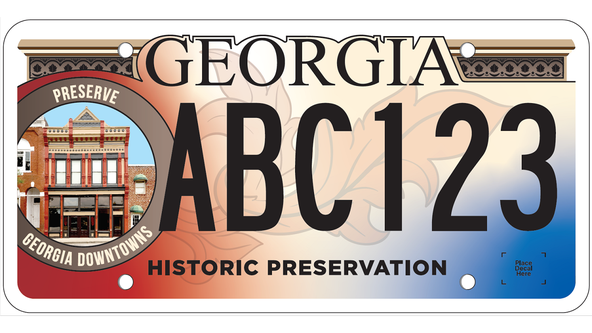 New license plate helps support preservation of Georgia's historic areas