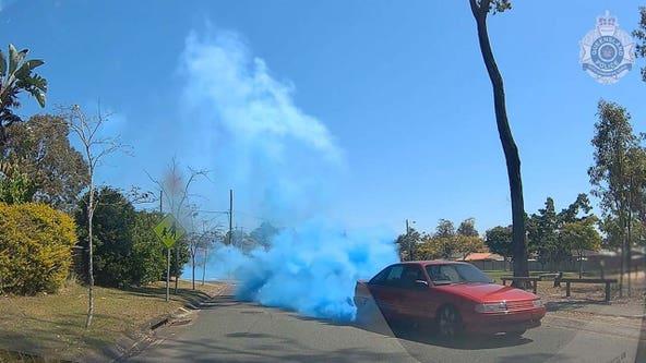 'Dangerous' gender reveal in Australia caught on dashcam footage