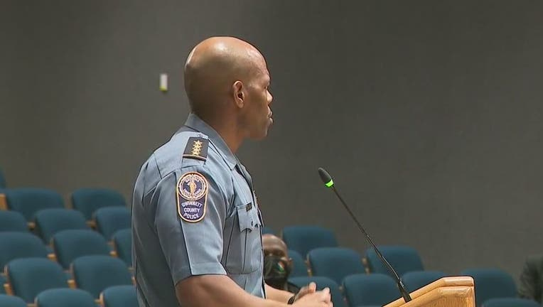 Gwinnett County Police Chief James McClure addresses the first Gwinnett County Citizens Advisory Board meeting on Sept. 21, 2021.