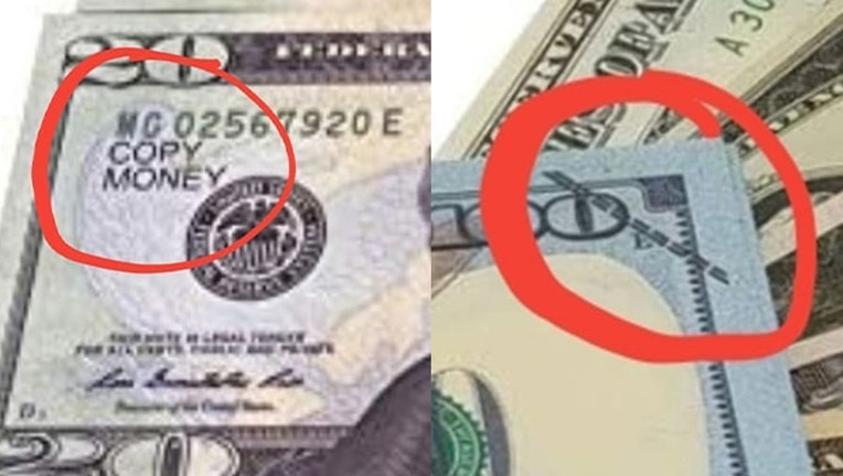 The Douglas County Sheriff's Office released these images as examples of prop money.