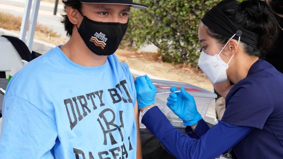 Coronavirus vaccination clinic at Rio Hondo College in Whittier.