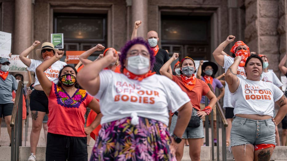 AUSTIN, TX - SEPT 1: Pro-choice protesters perform outside the