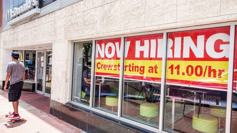 Miami Beach, Florida, McDonald's restaurant, now hiring sign, starting at $11 an hour