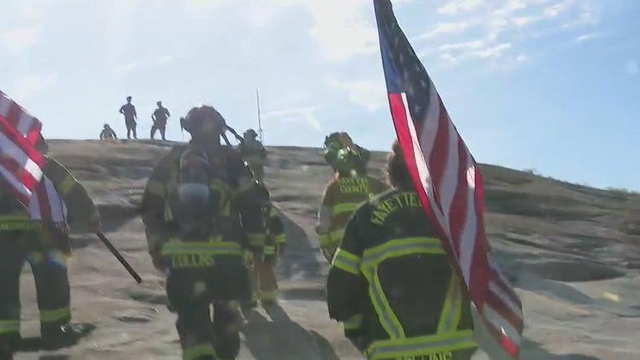 first responders climb stone mountain