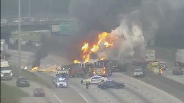 Massive vehicle fire shuts down I-285 southbound in East Point
