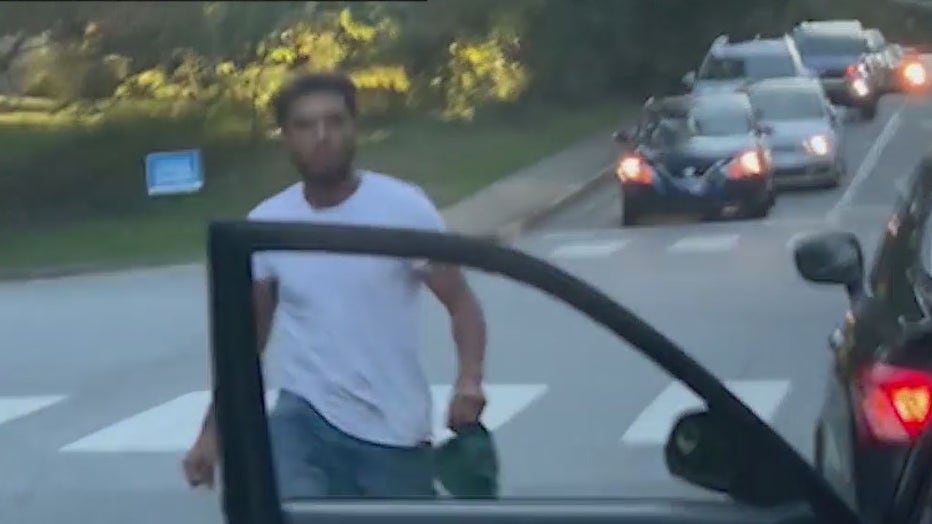 Alpharetta police are searching for this man wanted for attacking another driver.