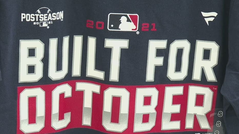 One of the Braves shirts available at Academy Sports and Outdoors after the team's fourth-straight NL East Title on Oct. 1, 2021.