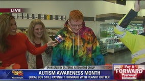 Virginia teen with autism who donated peanut butter surprised with $2K donation on his behalf