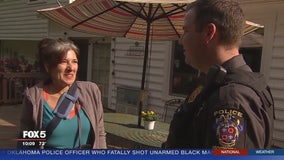 Bicyclist struck in  hit-and-run reunited with officer who helped save her life