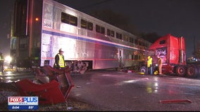 Amtrak train hits tractor-trailer on tracks in Montgomery County