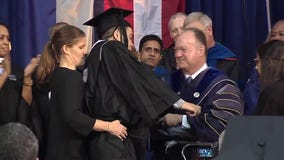 Georgetown linebacker walks at graduation after suffering spinal cord injury in 2015