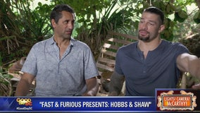 Roman Reigns, Cliff Curtis and Dwayne 'The Rock' Johnson in 'Fast and Furious Presents: Hobbs and Shaw'