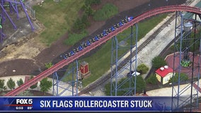 Riders safely removed from stuck roller coaster at Six Flags America