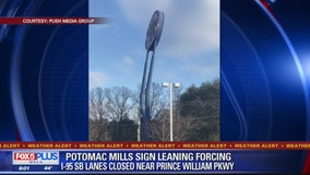 Powerful winds cause large Potomac Mills sign to lean