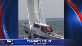 Charter fishing boat and sailboat collide in Chesapeake Bay in Maryland