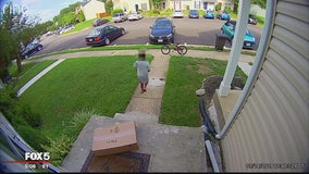 Boy caught on camera tampering with packages