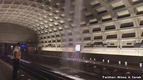 Rainwater gushes through roof of Virginia Square-GMU Metro during Monday morning commute