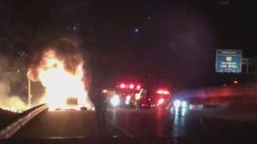 Tractor-trailer catches fire on Interstate 95 in Lorton