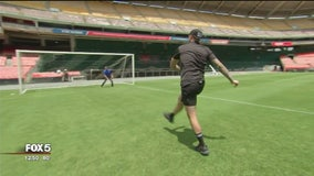 DC United players show Tucker, Marina and Mike Penalty Kick etiquette