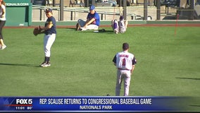 Rep. Steve Scalise back on field at annual Congressional Baseball Game 1 year after shooting