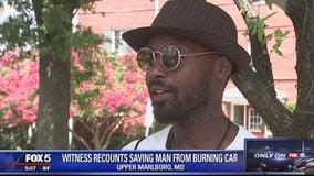Witness recounts saving man from burning car
