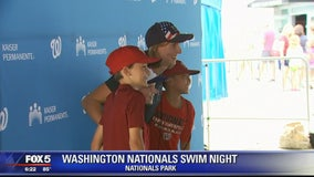 Katie Ledecky greets Nationals fans for Swim Night at Nationals Park