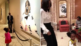 Michelle Obama dances with 2-year-old who stared in awe of her painting at National Portrait Gallery