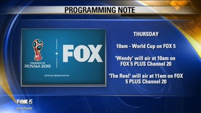 FOX 5 announces program scheduling changes during FIFA World Cup and US Open