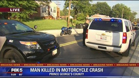 Man killed, child injured after motorcycle crash with vehicle in Prince George's County