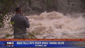 Man taking selfie slips and falls into flooded Potomac River