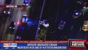 Officer, 8 others injured in crash on Beltway in Prince George's County