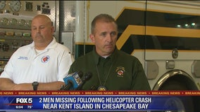 2 men missing following helicopter crash near Kent Island in Chesapeake Bay, officials say