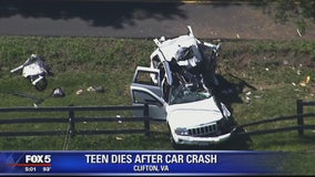 Fairfax County teen driver dies in hospital after crashing Jeep into tree