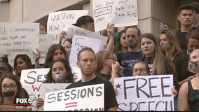 Demonstrators rally at Georgetown as Sessions deliver remarks on free speech on college campuses