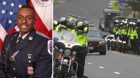 Fallen Prince George's County Police Cpl. Mujahid Ramzziddin's body arrives at funeral service