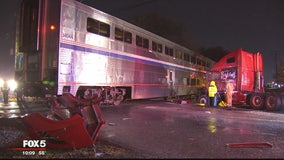 Train collides into tractor-trailer stuck on tracks in Gaithersburg, officials say