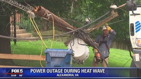 Crews work to restore power to Alexandria neighborhood in triple-digit temps