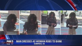 Man dresses up as woman during bank robbery in Prince William County
