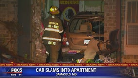 Car slams into condo building in Damascus