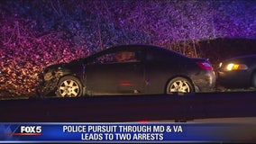 2 people in custody in Virginia following police chase that started in Maryland
