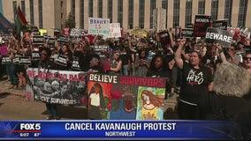 Anti-Kavanaugh protesters gather outside Supreme Court
