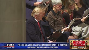 President Trump, first lady attend Christmas Eve service at Washington National Cathedral